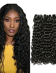 tanie -3 zestawy Włosy malezyjskie Wodne fale Włosy naturalne Fale w naturalnym kolorze Doczepy Pakiet włosów 8-28 in Kolor naturalny Ludzkie włosy wyplata Jedwabisty Gładki Najwyższa jakość Ludzkich włosów
