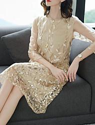 Недорогие -женское платье больших размеров с длинным рукавом синего бежевого цвета м х х х х л