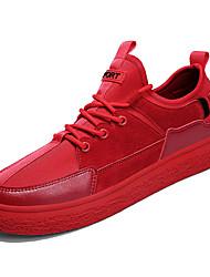 baratos -Homens Sapatos Confortáveis Couro de Porco / Couro Ecológico Inverno Casual Tênis Não escorregar Preto / Cinzento / Vermelho