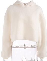 baratos -hoodie de manga comprida para senhora - tamanho único bege com capuz colorido sólido