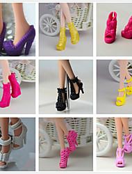 Недорогие -Прицесса / Симпатичные Стиль Туфли 9 pcs Для Кукла Барби Черный ПВХ Туфли Для Девичий игрушки куклы
