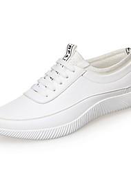 baratos -Homens Sapatos Confortáveis Microfibra Primavera & Outono Tênis Branco / Preto