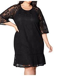 Недорогие -Жен. Большие размеры Классический Оболочка Платье - Однотонный, Кружева Завышенная До колена / Сексуальные платья