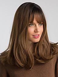 Недорогие -Парики из искусственных волос Естественный прямой Стиль С чёлкой Без шапочки-основы Парик Черный / коричневый Искусственные волосы 18 дюймовый Жен. Модный дизайн синтетический Новое поступление