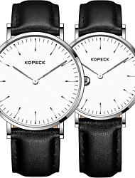 Недорогие -Kopeck Для пары Наручные часы электронные часы Японский Японский кварц Натуральная кожа Черный / Коричневый / Шоколадный 30 m Защита от влаги Повседневные часы Аналоговый Винтаж Мода -