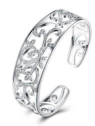 Недорогие -Жен. Белый Цирконий Браслет разомкнутое кольцо - Дамы, Мода Браслеты Бижутерия Серебряный Назначение Подарок Повседневные