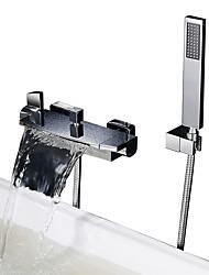 Недорогие -Смеситель для душа / Смеситель для ванны - Современный Хром Ванна и душ Керамический клапан Bath Shower Mixer Taps / Две ручки двумя отверстиями