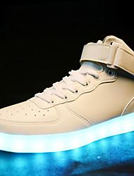 """Недорогие -Муж. Осветительная обувь Синтетика Наступила зима На каждый день / Стиль """"Школьная форма"""" Кеды Массаж Белый / Черный"""
