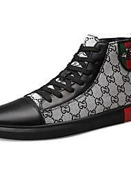 hesapli -Erkek Ayakkabı Kanvas / Nappa Leather Sonbahar Kış Günlük / İngiliz Çizmeler Yarı-Diz Boyu Çizmeler Günlük / Parti ve Gece için Siyah / Gri