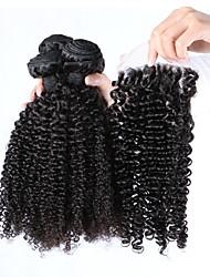 Недорогие -3 комплекта с закрытием Бразильские волосы Kinky Curly 100% Remy Hair Weave Bundles Волосы Уток с закрытием 16 дюймовый Нейтральный Ткет человеческих волос Удобный Расширения человеческих волос