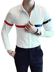 Недорогие -Муж. Рубашка Классический воротник Тонкие Контрастных цветов / Длинный рукав / Лето