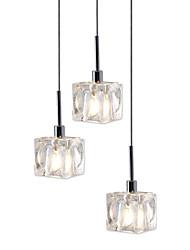 abordables -UMEI™ 3 lumières Lampe suspendue Lumière d'ambiance Chrome Métal Cristal, LED, Designers 110-120V / 220-240V Blanc Crème / Blanc Ampoule incluse
