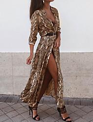 Недорогие -Жен. Классический Оболочка Платье - Леопард Макси