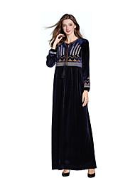 03da526863aa kvinnor går ut / fest maxi slank abaya / swing klänning hög midja blå m l xl  xxl