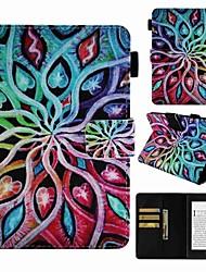 Недорогие -Кейс для Назначение Amazon Kindle PaperWhite 4 Бумажник для карт / Защита от удара / С узором Чехол Цветы Твердый Кожа PU
