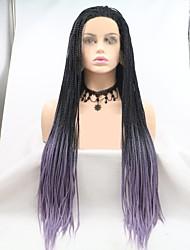 halpa -Synteettiset pitsireunan peruukit Naisten punottu Musta Kerroksittainen leikkaus 130% Hiuksista Density Synteettiset hiukset 24 inch Naisten Musta / Violetti Peruukki Pitkä Lace Front Musta / Purppura
