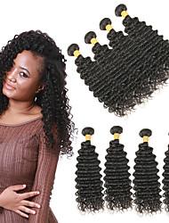 billige -4 pakker Brasiliansk hår Dyp Bølge Remy Menneskehår Hairextensions med menneskehår 10-26 tommers Hårvever med menneskehår Myk Beste kvalitet ny Hairextensions med menneskehår Dame