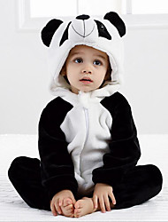 cheap -Baby Girls' Active Daily Black & White Patchwork Long Sleeve Polyester Romper Black