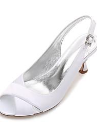 hesapli -Kadın's Ayakkabı Saten İlkbahar yaz Tatlı Düğün Ayakkabıları Kıvrımlı Topuk Burnu Açık Düğün / Parti ve Gece için Işıltılı Pullar Mavi / Açık Kahverengi / Kristal