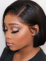 voordelige -Echt haar Kanten Voorkant Pruik Bobkapsel Korte Bob stijl Braziliaans haar ZijdeRecht Zwart Pruik 130% Haardichtheid met babyhaar Natuurlijke haarlijn Voor donkere huidskleur 100% Maagd 100