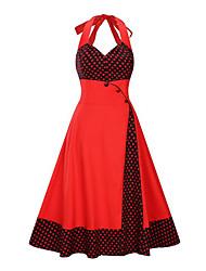 Недорогие -Жен. А-силуэт Платье - Горошек / Контрастных цветов, С принтом Средней длины