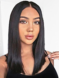 cheap -Remy Human Hair 360 Frontal Lace Front Wig Deep Parting style Brazilian Hair Yaki Straight Wig 130% 150% 180% Density with Baby Hair Adjustable Heat Resistant Best Quality Thick Natural Women's Mid