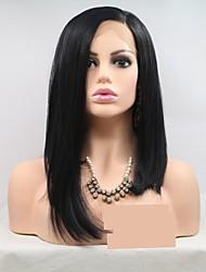 voordelige -Pruik Lace Front Synthetisch Haar Dames KinkyRecht Zwart Gelaagd kapsel 130% Human Hair Density Synthetisch haar 16 inch(es) Dames Zwart Pruik Kort Kanten Voorkant Zwart Sylvia