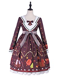 Недорогие -Sweet Lolita Прицесса Лолита Платья Мужской Японский Косплей костюмы Красный Цветы Звезда Широкий, стянутый у запястья Длинный рукав До колена