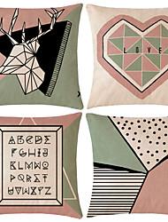 Недорогие -4.0 штук Хлопок / Лён Наволочка, С узором геометрический Цитаты и выражения Геометрия С узором