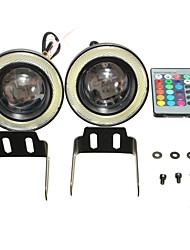 Недорогие -беспроводное управление 3.5 дюймов светодиодные RGB цвет противотуманные фары белый ангел глаз кольца автомобильные фары