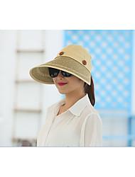 Недорогие -Жен. Классический Шляпа от солнца Солома,Однотонный Розовый Светло-синий Хаки