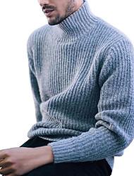 cheap -Men's Daily Solid Colored Long Sleeve Regular Pullover, Turtleneck Black / Wine / Light Blue XL / XXL / XXXL