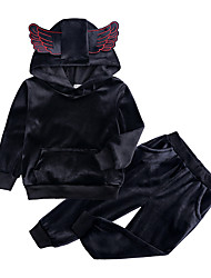 cheap -Kids / Toddler Girls' Street chic Daily / Sports Solid Colored Long Sleeve Regular Regular Cotton / Polyester Clothing Set Black