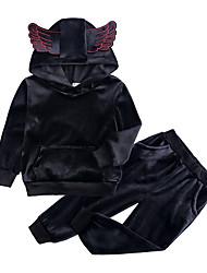 ราคาถูก -เด็ก / Toddler เด็กผู้หญิง Street Chic ทุกวัน / Sport สีพื้น แขนยาว ปกติ ปกติ ฝ้าย / เส้นใยสังเคราะห์ ชุดเสื้อผ้า สีดำ