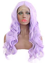 Недорогие -Синтетические кружевные передние парики Жен. Естественные кудри Фиолетовый Средняя часть Искусственные волосы 24 дюймовый Жаропрочная Фиолетовый Парик Длинные Лента спереди Фиолетовый