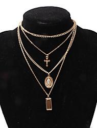 hesapli -Kadın's Haç Desenli katmanlı Kolyeler - Krzyż Avrupa, Moda Altın, Gümüş 35 cm Kolyeler Mücevher 1pc Uyumluluk Gece Partisi, Dışarı Çıkma