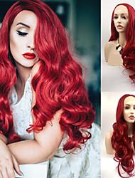 voordelige -Pruik Lace Front Synthetisch Haar Dames Watergolf Rood Gelaagd kapsel 130% Human Hair Density Synthetisch haar 24 inch(es) Dames Rood Pruik Lang Kanten Voorkant Rood groen Sylvia