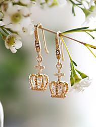 hesapli -1 çift Kadın's Retro Damla Küpeler - Simüle Elmas Korona Moda Zarif Mücevher Altın Uyumluluk Düğün Parti