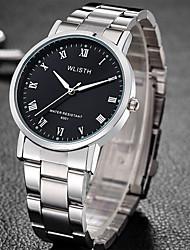 Недорогие -Муж. Нарядные часы Кварцевый Нержавеющая сталь Серебристый металл Защита от влаги Фосфоресцирующий Аналоговый На каждый день Мода - Белый Черный