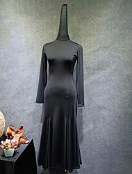 お買い得  -ラテンダンス ドレス 女性用 性能 プロミックス フリル 長袖 ドレス