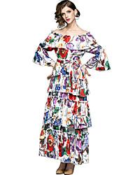 Недорогие -Жен. Изысканный / Элегантный стиль Вспышка рукава С летящей юбкой Платье - Цветочный принт, Оборки / С принтом Макси