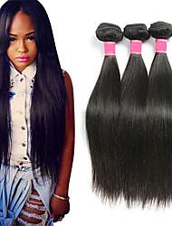Недорогие -3 Связки Бразильские волосы Прямой Не подвергавшиеся окрашиванию Человека ткет Волосы Сувениры для чаепития Уход за волосами 8-28 inch Естественный цвет Ткет человеческих волос