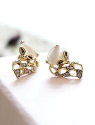 hesapli -1 çift Kadın's Klasik Vidali Küpeler - Simüle Elmas Tilki Tatlı sevimli Stil Mücevher Altın / Gümüş Uyumluluk Randevu Cadde