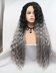 Недорогие -Синтетические кружевные передние парики Жен. Волнистый Темно-серый Стрижка каскад 130% Человека Плотность волос Искусственные волосы 24 дюймовый Женский / Волосы с окрашиванием омбре / Черный