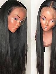 tanie -Włosy virgin Nieprzetworzone włosy naturalne Siateczka z przodu Peruka styl Włosy peruwiańskie Jedwabiście proste Peruka 130% Gęstość włosów z Baby Hair Naturalna linia włosów Peruka afroamerykańska