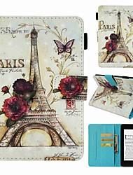 Недорогие -Кейс для Назначение Amazon Kindle PaperWhite 4 Бумажник для карт / Защита от удара / С узором Чехол Эйфелева башня Твердый Кожа PU