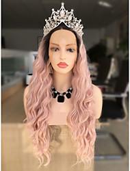 Недорогие -Синтетические кружевные передние парики Жен. Волнистый Черный Стрижка каскад 130% Человека Плотность волос Искусственные волосы 24 дюймовый Женский / Волосы с окрашиванием омбре Черный / Розовый Парик