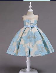 billige -A-linje Ankellang Blomsterpikekjole - Polyester / Polyester / Bomull Ermeløs Besmykket med Broderi / Blonder / Trimmer av U-SWEAR