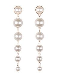 hesapli -1 çift Kadın's Uzun Damla Küpeler - İmitasyon İnci Tatlı Moda Mücevher Beyaz Uyumluluk Düğün Parti