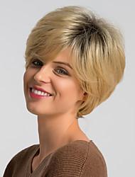 voordelige -Human Hair Capless Pruiken Echt haar Natuurlijk recht Pixie-kapsel Modieus Design / Gemakkelijke dressing / Comfortabel Donker Grijs / Meerkleurig Kort Zonder kap Pruik Dames / Ombre-haar